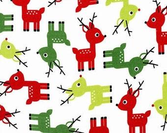 Robert Kaufman Jingle Reindeer White (Half metre)