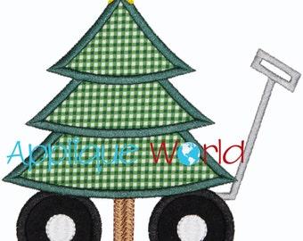 Christmas Tree Wagon Applique