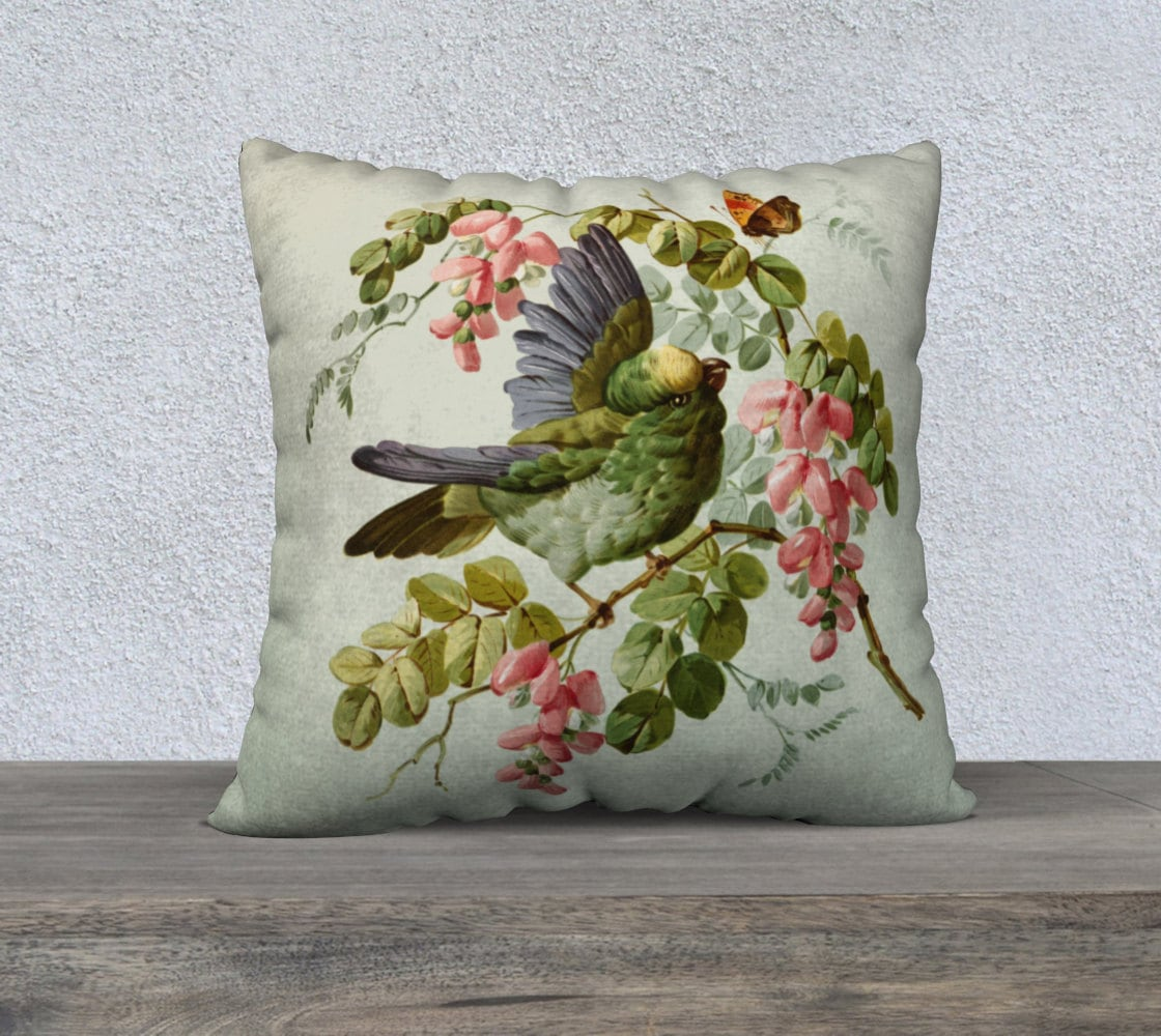Decorative Pillows With Bird Design : Decorative Throw Pillows Bird Throw Pillow Floral by JDzigner