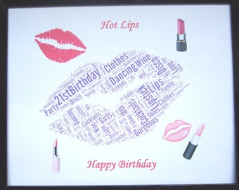 """New Personalised """"Lips"""" Word Art PRINT ONLY Will Fit any 8""""x10"""" Frame  Birthday, Christmas, Thank You or General Unique Gift and Keepsake"""