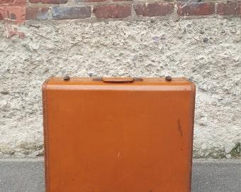 SALE - Mid-century leather suitcase/trunk (Large)
