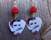 Tattooed Pin Up Girl Guitar Pick Earrings with Red Pave Rhinestone Beads