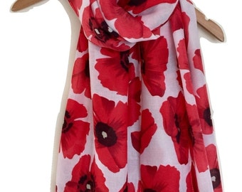 Poppy Print Scarf White  with Red Poppies  Floral Print, Ladies Flower Wrap Shawl, flowers Scarf  Gift Idea