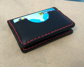 Slim leather card holder.  Easy access card holder. Handmade leather card holder.