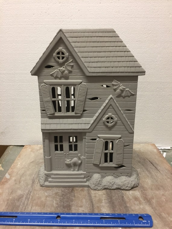 Ceramic bisque haunted house ready to paint donna 39 s molds for Ceramic house paint