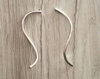 Long Silver Confetti Streamer  Earrings - Sterling Silver Post Earrings - Freeform Post Earrings - Wavy Silver Earrings