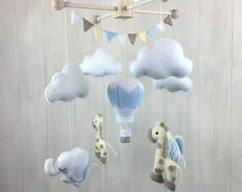 Baby mobile - baby crib mobile - elephant mobile - giraffe mobile - hot air balloon mobile - nursery mobile - crib mobile - bunting - clouds