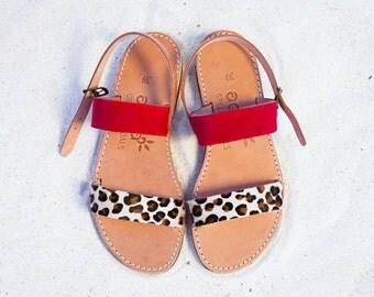 Aelia /greek sandals / apostasy / two straps /red /animal print / leather /sandals