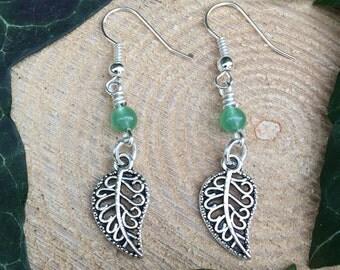 Silver Leaf Green Aventurine Earrings