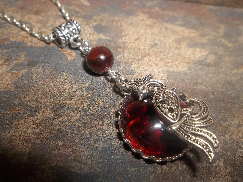 Red Phoenix Stone : Fire opal phoenix red tiger eye stone pendant chakras reiki