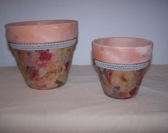 """Painted Plant Pot -  Roses and Ribbon - Clay Pot - 4"""" and 6"""""""