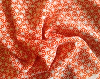 Vintage orange and cream Japanes kimono fabric with with a tradional japanese geometic pattern, sold per 1/2 meter