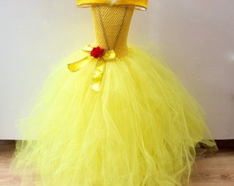 Disney Belle Beauty & the Beast inspired Gown, Prom, Belle Tutu-Dress, FREE Hair-Clip/Brooch, Age 3 up to 10 yrs