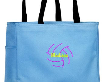 Personalized Tote Bag Embroidered Tote Bag Custom Tote Bag - Sports - Volleyball2 - B0750