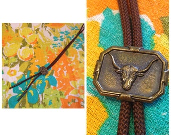 Bronze Longhorn bolo tie with brown braided rope | Rockabilly bolo tie with longhorn slide