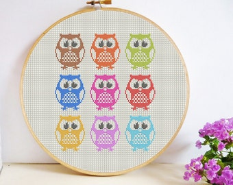 Parliament of Owls Cross Stitch Pattern PDF Instant Download