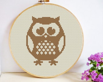 Round Owl Cross Stitch Pattern PDF Instant Download -  Small, Simple and Quick to Stitch