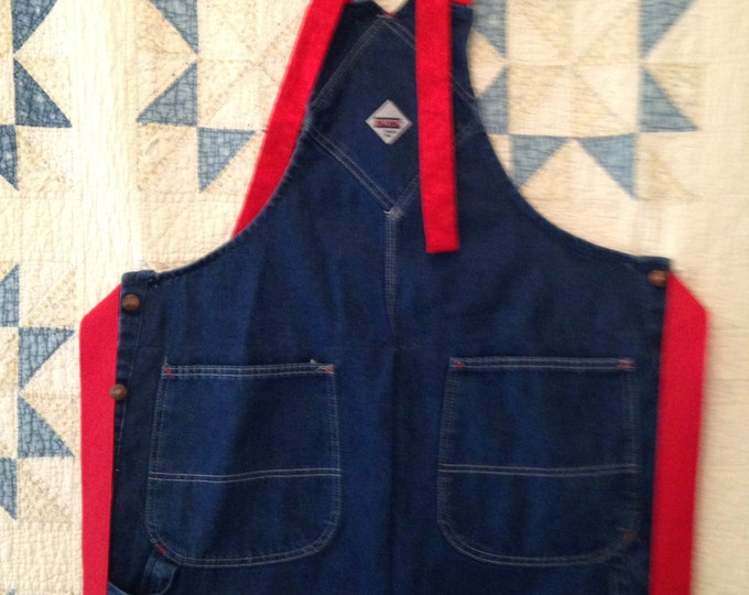 HALF PRICE ** Adult Upcycled Denim Overall Apron with Red Trim. Great Gift for YOur BBQ Chef!