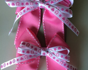 Pink cowgirl bow set