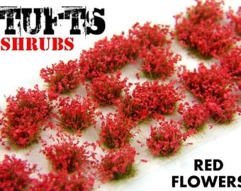 Shrubs TUFTS - 6mm self-adhesive RED FLOWERS Scenery Miniature diorama Basing Landscape