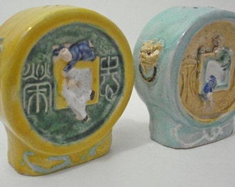 Playful Men In Window Lion Head Salt & Pepper Shakers Made In China Vintage