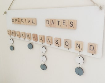 Birthday reminder board- special family dates board. Choice of colours- can be personalised