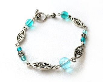 Bracelet Silver Flower Aqua Blue Czech Glass Beads