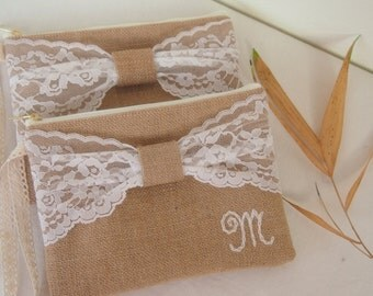 4 PERSONALIZED clutch -bridesmaid clutch /burlap bag/  Bridesmaid Gift /ribbon bow -wedding clutch/set of 4 Express shipping