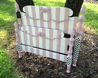 Twin Bed/Princess Bed/Hand Painted/Whimsical