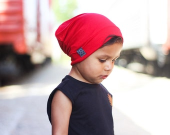 Red Slouchy Beanie / Lightweight Jersey Knit Slouch Hat