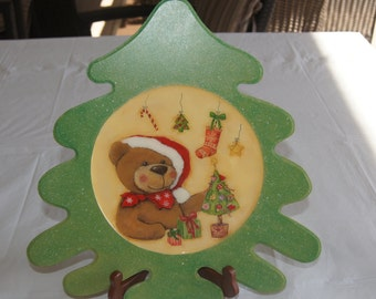 Hand painted decorative tree plate, Christmas decorative plate, Home decor- Holiday decor