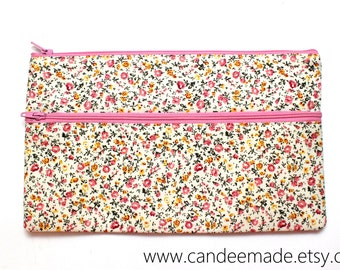 Sale! Large Pretty Pink Floral Pencil Case/ Makeup Bag 24cm x 14.5cm With Two Pockets and Pink Zippers