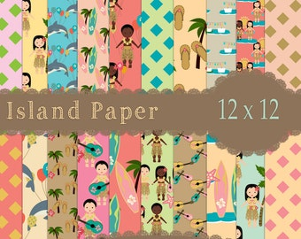 Island papers, Beach Papers, Ocean Papers, Tropical papers, Cruise Papers, Vacation papers, Luau Papers, Instant Download