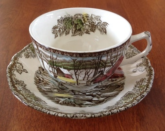 Johnson Bros THE FRIENDLY VILLAGE - The Ice House - Cup and Saucer Brown Polychrome Transferware England