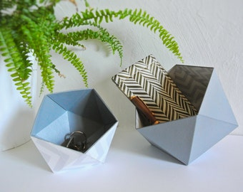 Origami boxes by two, Scandinavian geometric motifs, chevrons grey and white