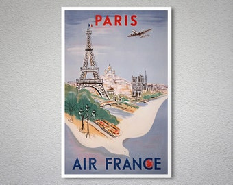 Paris Air France  Airline Travel Poster - Poster Print, Sticker or Canvas Print