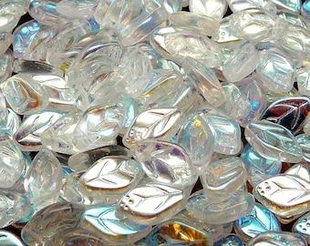 25pcs Czech Pressed Glass Leaf Beads 7x12mm Crystal AB