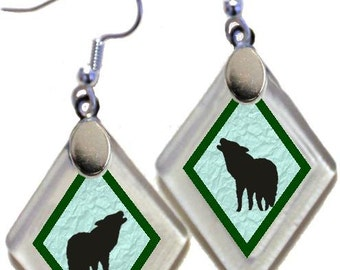 "Earrings ""Wolf  Silhouette"" assorted colors, rescued, repurposed window glass~Lightening landfills one tiny glass diamond at a time!"
