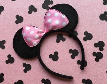 Mouse Ears Headband (Wedding Crown Butterfly Tiara Princess Land World Cruise Birthday Party Favors Favor Festival Princess Poka Dot Bow)