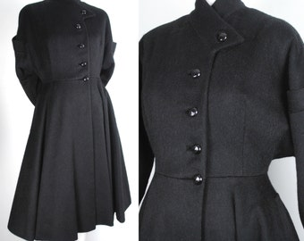 Vintage 50s Black Wool Princess Coat - 1940s 1950s Rare Fit and Flare Wool Jacket