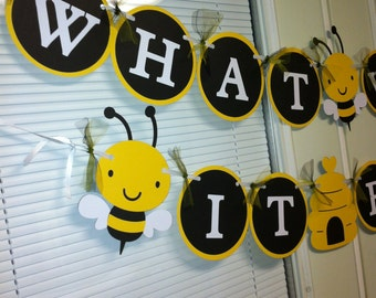 """Bumble Bee """"What will it BEE"""" shower banner"""