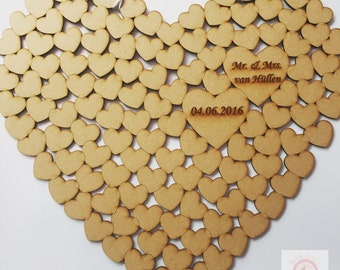 Wooden wedding heart guest book alternative with 220 hearts, wedding present, engagement present, jigsaw guestbook, puzzle guest book
