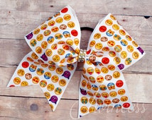 Emoji Cheer Bow, cheer bows for teams, bows for cheer teams, cute cheer bows, cheer bows cheap