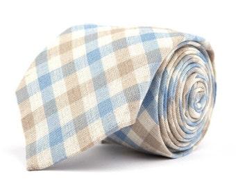 Light Blue & Brown Plaid Necktie