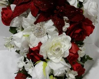 Bridal bouquet,  quinceanera bouquet,  bouquet,  wedding bouquet,  red roses bouquet,  valentine's wedding bouquet,  roses bridal bouquet