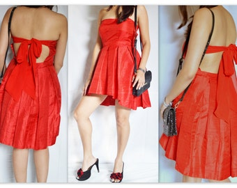 Red high low backless dress
