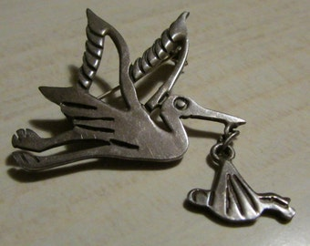 Mexico Sterling Silver Stork Carrying a Baby Pin