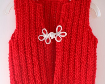Unisex red vest, baby Christmas vest, holiday knitwear, baby girl red vest, baby boy vest