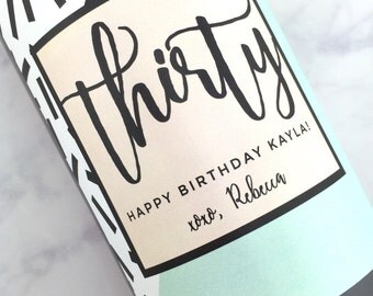 Dirty Thirty Gift, 30th Birthday Gift for Her, 21 Bday Gift, Birthday Party, 21st 30th 40th 50th Bottle Labels, Birthday Gift Wine Labels