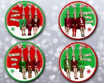 Coasters Christmas, Dear Santa Coasters, Christmas, Stocking Stuffers, Xmas, Sassy, Funny Sayings - (0040)